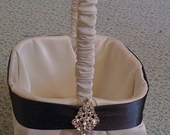 Ivory Satin with Charcoal Gray Flower Girl Basket