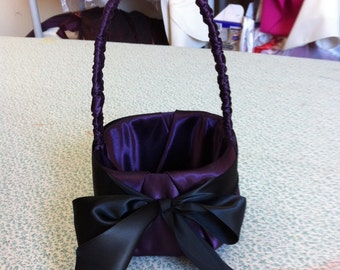 Eggplant with Black Bow Flower Girl Basket and Ring Bearer pillow