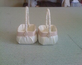 Ivory with Champagne  Flower Girl Baskets with Bling set of two