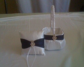 White with Navy Blue accent Flower Girl Basket and Ring bearer Pillow with Bling