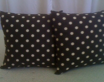 Sunbrella Outdoor Fabric Black and White Polka Dot  Throw Pillows 16 x16 With Insert