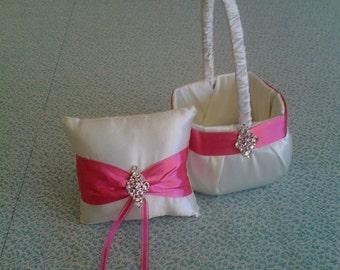 Ivory Flower Girl Basket and Ring bearer Pillow with Bling and Hot Pink Accent