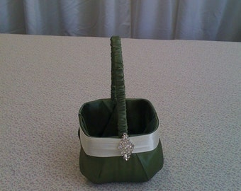 Olive Green  with Ivory  Flower Girl Basket