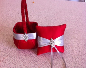 Red and Silver  Satin Flower girl basket and pillow