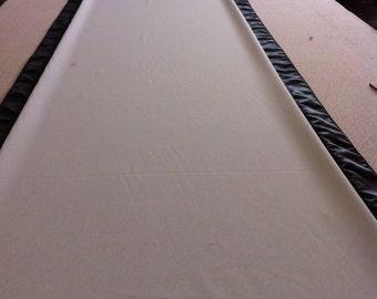 Custom Made Aisle Runner Two Colors White Gabardine and Black  Satin Accents 50 feet Long