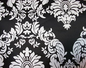 Black and White Damask Charmeuse Fabric One Yard Listing