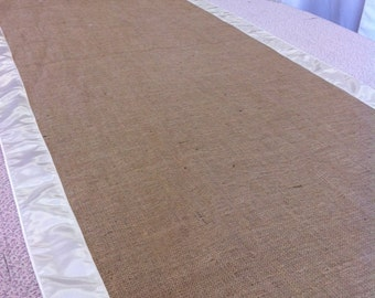 Burlap Custom Made Aisle Runner 50ft with Ivory  satin border on both sides
