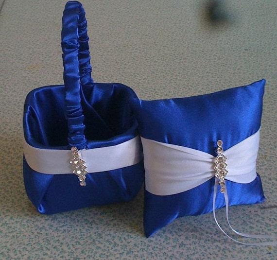 Royal Blue Horizon Satin With White Flower Girl Basket And