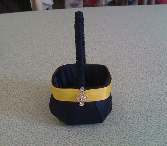 Navy Blue with Yellow Satin Flower Girl Basket