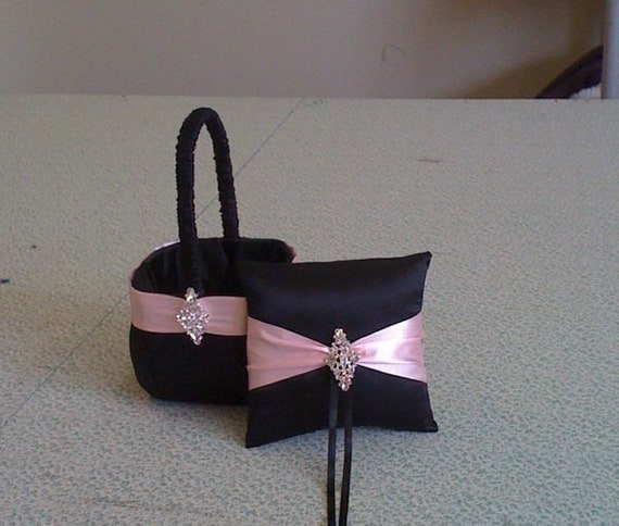 Black Satin and Pink Satin  Flower girl basket and pillow