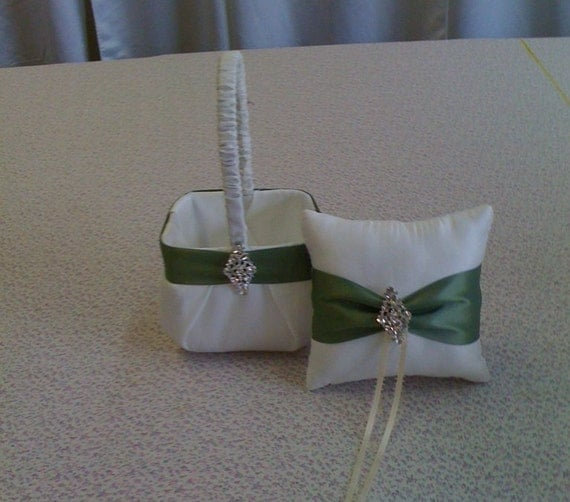 Flower Girl Baskets And Ring Bearer Pillows Ivory : Ivory flower girl basket and ring bearer pillow with bling