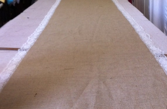 Burlap Custom Made Aisle Runner 50 ft with Ivory lace border on both sides