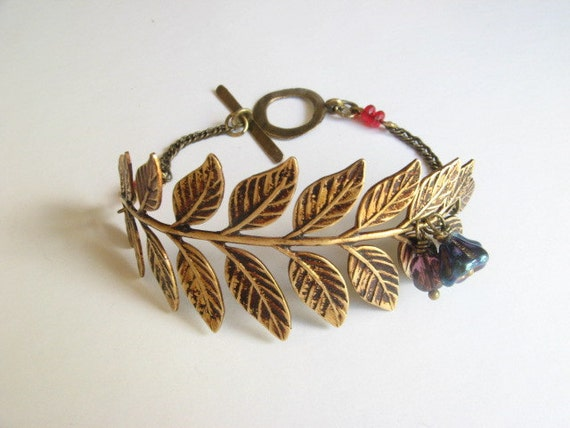 Leaf, blue flower brass bracelet-Vintage wedding--bohemian--Original Design by Says the Stone Fly Fly away