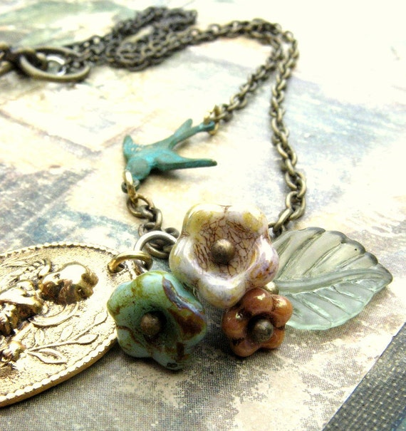 Angel necklace bohemian  Victorian cherub pendant Bird baby guardian angel necklace Mom son necklace Woodland religious Christian jewelry