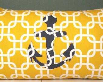 Anchors away Yellow / white gotcha pillow cover 14 X 24