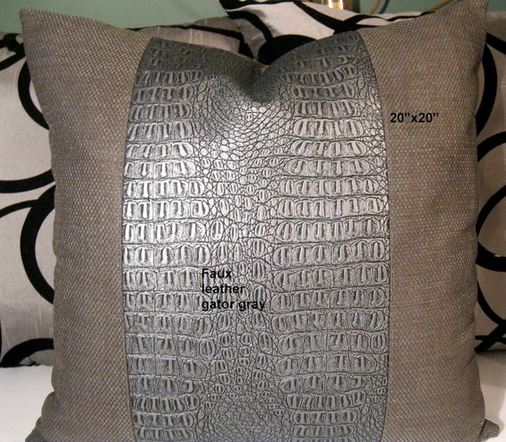 Gray Faux Leather and Gray basket weave 20 X 20
