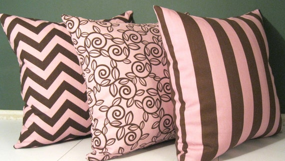 Set of 3 premier Pink/Brown pillow covers 16 X16