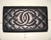 Amazing Black Chanel Tri Fold Wallet with Serial Number