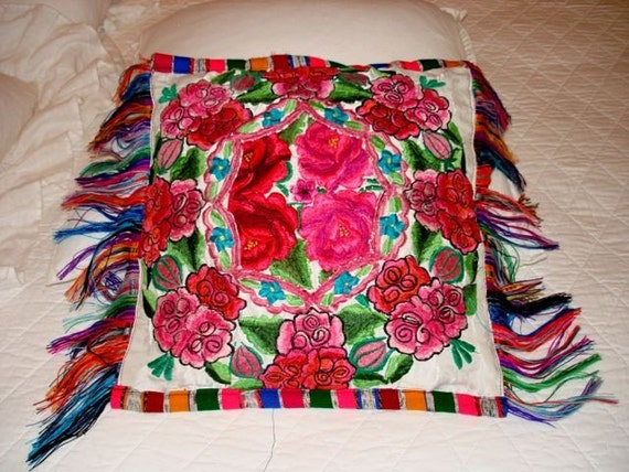 Colorful Mexican Embroidered Pillow
