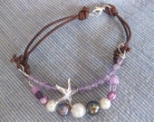 violet pearls and amethyst bead bracelet