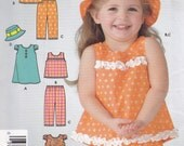Great  uncut pattern from 2005 sizes girls toddler top dress pants hat shorts1/2 to 4 Simplicity 4557 It's so easy