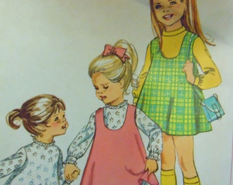 Vintage 1968 little girls sewing pattern 1968 Size 3 Simplicity 7788 dress