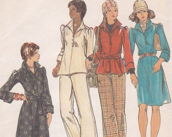 uncut 1970s sewing pattern Butterick 3393 long short dress top and pants Size 16 Bust 38