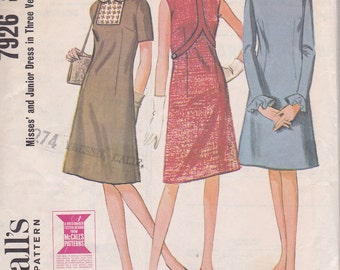 McCalls 7926 Sewing pattern 1965 Size 12 Dress with three versions
