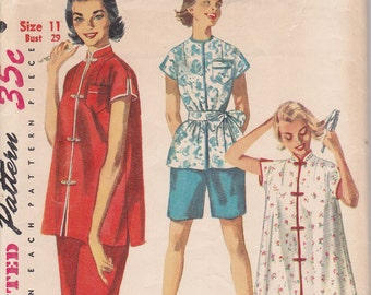 1954 Mandarin Pjs Size 11 Sewing pattern Simplicity 4971 Robe pajama sleep coat pants