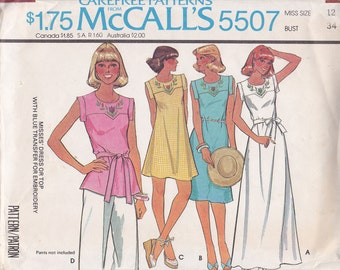 Dress or top sewing pattern McCalls 5507 1977 Size 12 bust 34 maxi mini