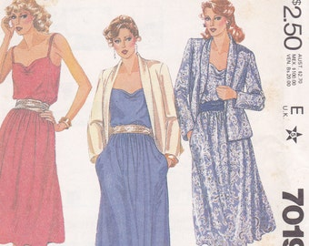 Dress long or short and jacket Size 12 Bust 34 McCalls 7019 Uncut from 1980