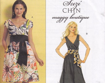 OOP Suzi Chin Maggie Boutique Dress and sash Butterick 5319 multi sizes  8 10 12 14