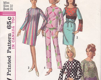 Simplicity 6214 sewing pattern for border or panel prints Size 10 slim cut pants top dress from 1965 uncut