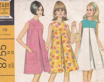 McCall's 8755 Size 13 bust 33 tent dress with inverted pleat 1967