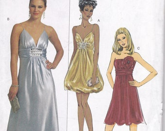 Fun Flashy party formal dress cocktail Butterick 5323 OOP multi sized 8 10 12 14 balloon strapless