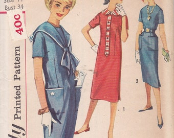 Simplicity 2644 1958 Tammy style nautical dress pattern Simple to Sew Size 14 Teen age size Bust 34 detachable sailor collar