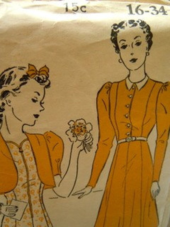 Vintage 1940s Bolero dress heart neck line pattern New York 1226