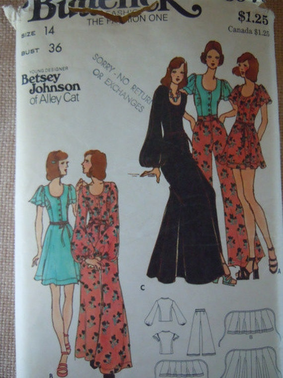 Betsey Johnson of Alley Cat Vintage Sewing Pattern Butterick 6979 Size 14 Bust 36
