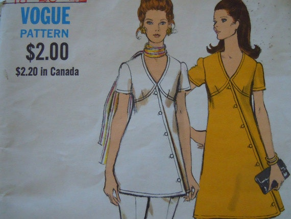 Vintage Vogue 7846 sewing pattern 1970s tunic pants dress size 18 Bust 40 Vintage Sewing Pattern Retro Fashion