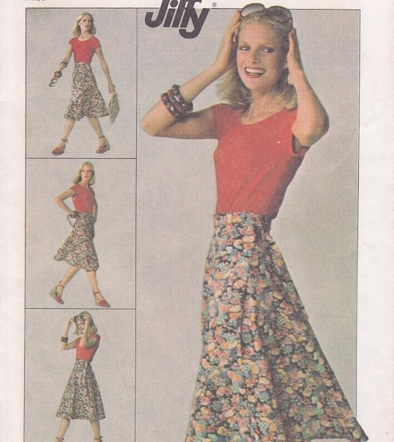 1977 wrap skirt sewing pattern size medium 14 16 SImplicity 7876 Jiffy