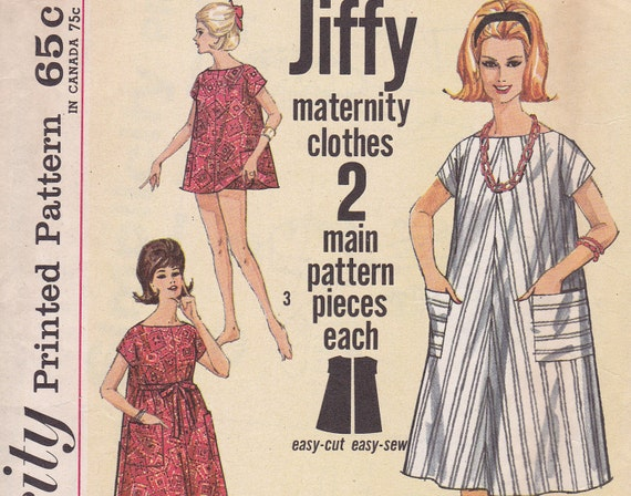 1960s Jiffy Maternity Sewing pattern Simplicity 4994 dress top and panties Size 12 bust 32