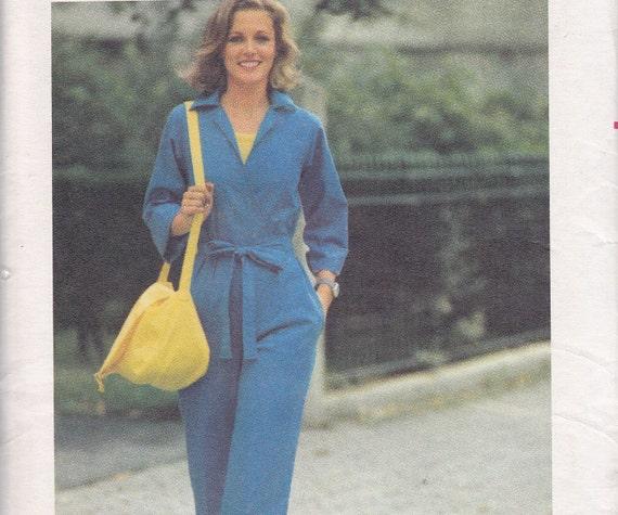 Wrap jumpsuit size 16 1970s uncut sewing pattern Butterick 5240 bust 38