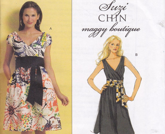 Suzi Chin Maggie Boutique Dress and sash Butterick 5319 multi size  16 18 20 22 OOP Bust 38 40 42 44