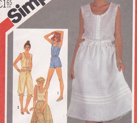 Camiknickers Bloomers Petticoat Romper Sewing pattern Simplicity 5460 from 1982 Size 10 bust 32 1/2
