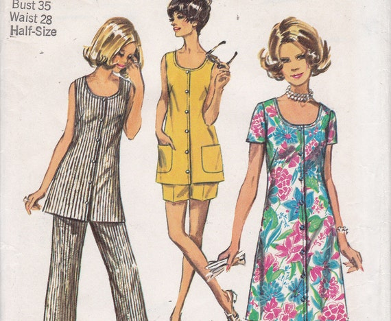 Simplicity 8846 Size 12 1/2 Bust 35 jiffy simple to sew dress tunic pants shorts from 1970 uncut