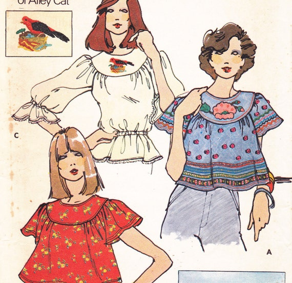 Betsey Johnson of Alley Cat Blouse pattern with transfers Butterick 3851 size 6