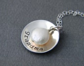 Hand Stamped Mommy Nana Grandma Necklace Domed with Coin Pearl