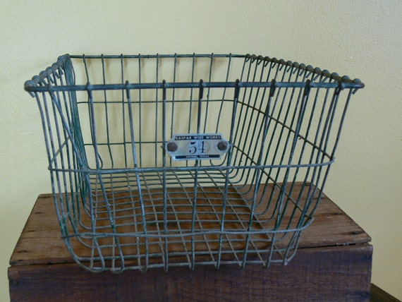 Vintage Wire Basket School Gym Swimming Pool 1950's No. 54