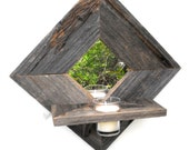 Barnwood Wall Sconce - Mirror with Votive Candle