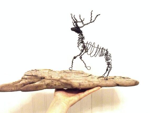 Wire Elk Sculpture on Driftwood